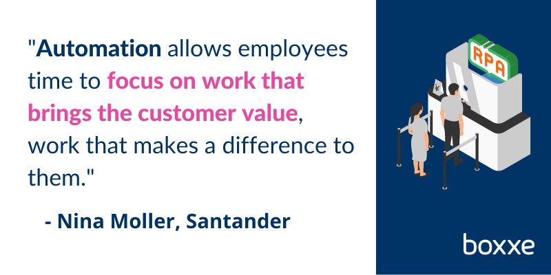 RPA in banking - Santander pull quote