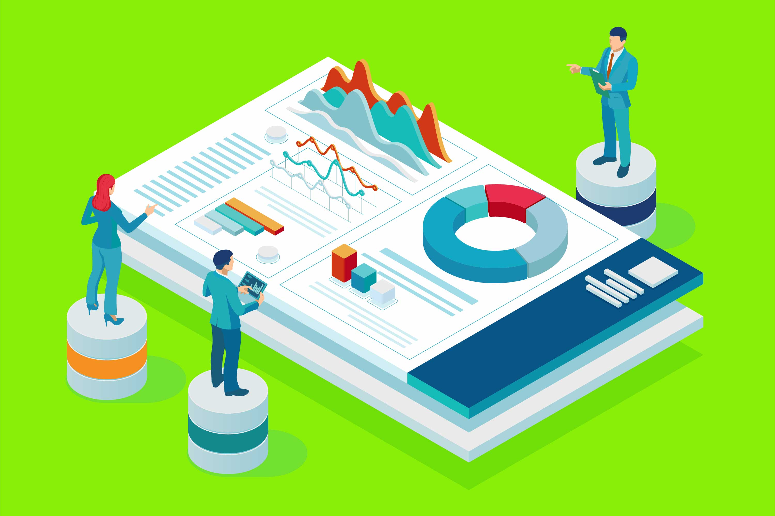 Business people look at data
